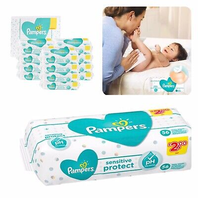 Pamper Baby Wipes Extra Sensitive Wet Cotton Touch Wipes Pure Travel Pouch Clean • 4.98£