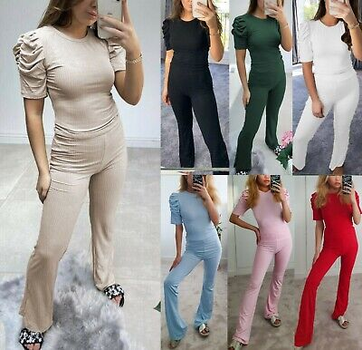 Women Ladies Frill Ruched Puff Sleeve Top Bottom Ribbed Loungewear Tracksuit Set • 14.95£