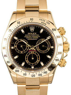 $ CDN40041.81 • Buy Rolex Daytona 18k Yellow Gold Chronograph Black Dial Mens Watch & Box Z 116528