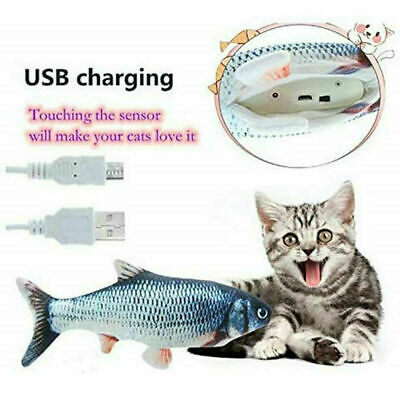 AU13.65 • Buy USB Electric Interactive Pet Cat Kitty Toy Wagging Fish Realistic Plush Catnip