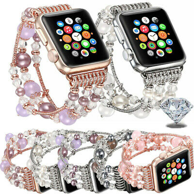 AU17.99 • Buy For Apple Watch Series 5 4 3 2 1 38-44mm Bling Agate Beads Strap Bracelet Band