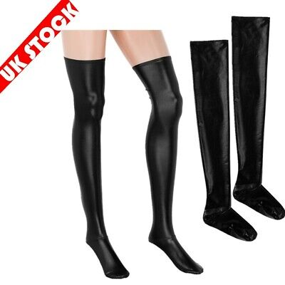 Faux Leather PVC Stockings | Latex Women Thigh High Socks Hold Up Clubwear UK  • 7.20£