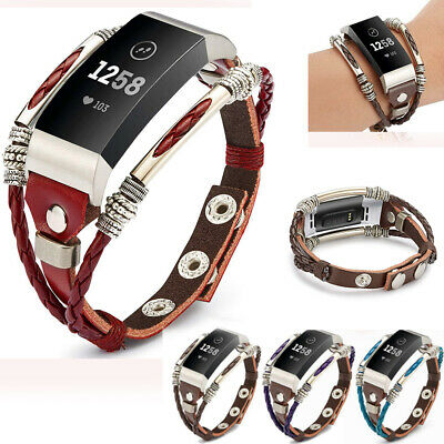 AU16.99 • Buy Unique Replacement Leather Wristband Band Strap Bracelet For Fitbit Charge 4 3 2
