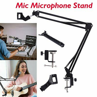 Mic Microphone Suspension Boom Scissor Arm Stand Shock Mount Adjustable NEW KU • 8.99£
