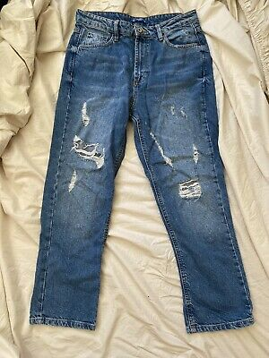AU25 • Buy Pull And Bear Mid Blue High Rise Cropped Ripped Mom Jeans Size AU8/EU36