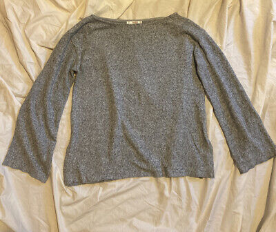 AU20 • Buy Pull And Bear Grey Marle Knit Top With Bell Sleeve Size S
