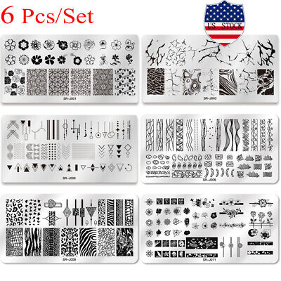 $12.21 • Buy 6Pcs/Set Nail Art Stamping Plates Image Stamp Templates Manicure Stencils Tools