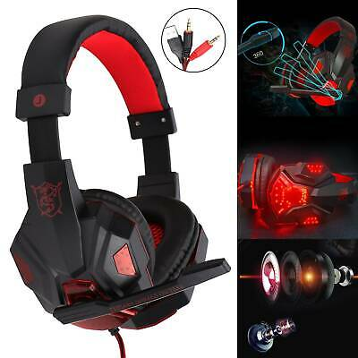 AU18.81 • Buy Gaming Headset USB Wired Over LED Headphones Stereo With Mic For Xbox PC