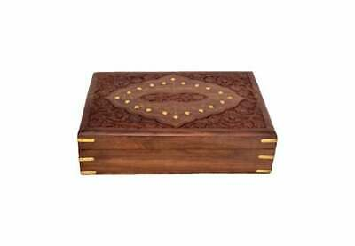 £14.99 • Buy Ornate Hand Carved Wooden Tarot Card Trinket Box With Brass Corners