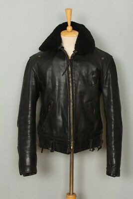 STUNNING Vtg 50s CAL LEATHER Heavy HORSEHIDE CHP Police Motorcycle Jacket L/XL • 42£