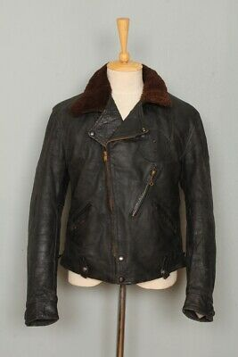 STUNNING Vtg 1930s HORSEHIDE Leather Half Belt Police Motorcycle Jacket Medium • 32£
