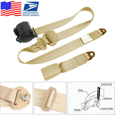 $34.70 • Buy Beige 3 Point Car Seat Belt Auto Retractable Safety Strap Buckle Clip Universal