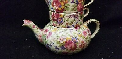 $ CDN264.59 • Buy Vintage Porcelain Royal Winton Grimwades Summertime Chintz Stacking Teapot