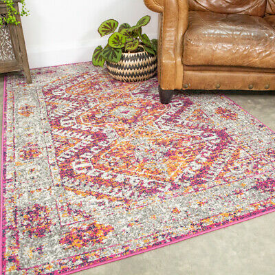 Vintage Distressed Pink Rug Small Large Traditional Rugs Long Hallway Runner Mat • 11.95£