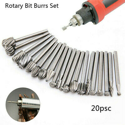 20pcs Carbide Burr Set Rotary Drill Bits Die Grinder Carving Engraving Tool • 5.08£