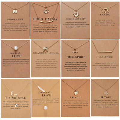 £2.31 • Buy Best Wish Necklace Clavicle Gold/Silver Chain Pendant Women Jewellery Card Gifts
