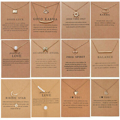 Best Wish Necklace Clavicle Gold/Silver Chain Pendant Women Jewellery Card Gifts • 1.88£