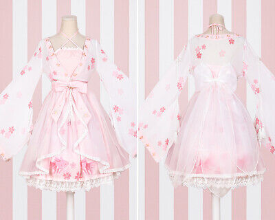 Sweet Lolita Floral Bowknot Kinngyo Prints Hime Sleeve Lace Dress Elgant Ting1 • 48.86£
