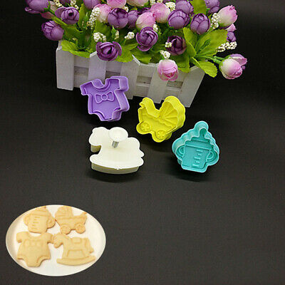 £2.59 • Buy 4pcs Baby Shower Fondant Cake Plunger Cutter Mould Biscuit Mold Clothes Cookies