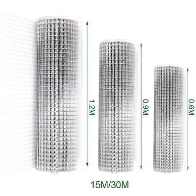 15/30M Chicken Welded Wire Mesh Roll Galvanised Metal Grid Fence Net 25mm Holes • 32.95£