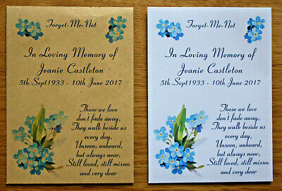 £2.95 • Buy  Personalised Forget Me Not Seed Packets Envelopes Remembrance Funeral Favour