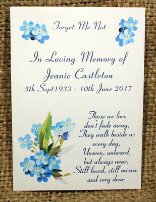 Personalised Bespoke Forget Me Not Seed Packet In Memory Funeral Favour + Seeds • 4.95£