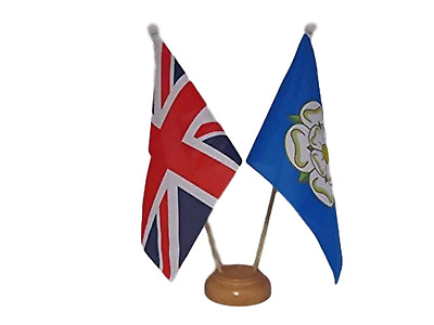 £7.99 • Buy Union Jack & Yorkshire New County Flags 9  X 6  Wooden Table Desk Flag Set