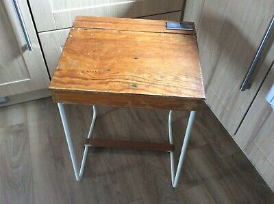 Vintage Wooden School Desk • 10£