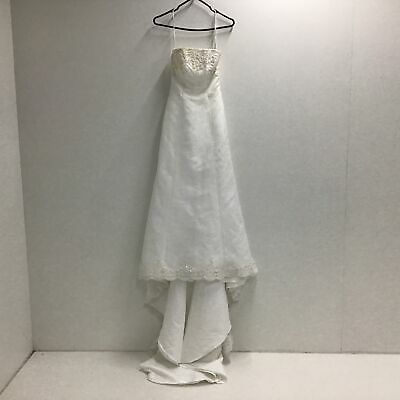 AU24.99 • Buy MICHAEL ANGELO White Strapless Wedding Dress With Beading Detail Size 4 #403