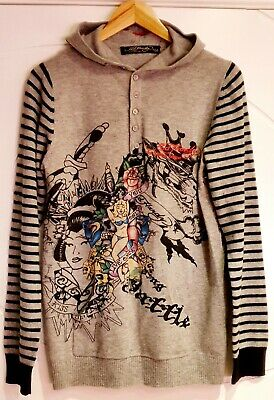 GENUINE Men Ed Hardy Christian Audigier You Only Live Once Wool Hoodie UK Medium • 69.95£