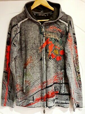 GENUINE Men's Ed Hardy Christian Audigier Death From Above Wool Hoodie UK Medium • 79.95£