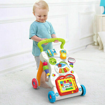 Baby Walker First Step Bouncer Push Along Mobility Toys Musical Walking Learning • 16.14£