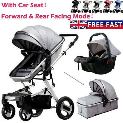 3 In 1 Baby Pram Pushchair From Birth Travel System Buggy Stroller With Car Seat • 139.90£