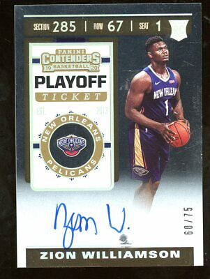 $1686 • Buy 2019-20 Contenders Playoff Ticket #108 Zion Williamson RC Rookie AUTO /75