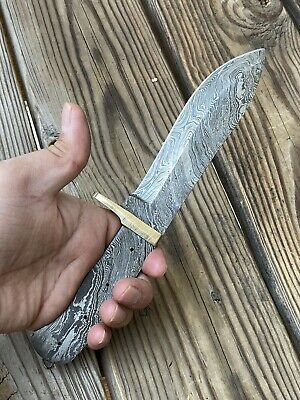 $24.99 • Buy HAND FORGED DAMASCUS STEEL Hunting  Knife BLANK BLADE FULL TANG W/brass