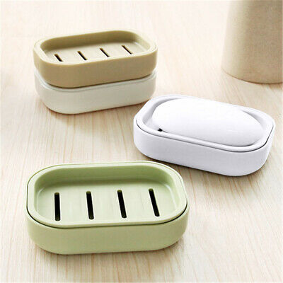 Soap Holder Dish Bathroom Shower Storage Plate Stand Box Container Tray Case UK • 3.99£