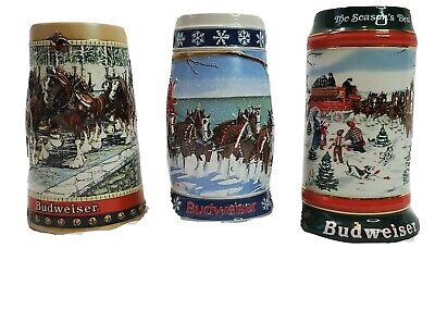 $ CDN45.17 • Buy Budweiser Holiday Clydesdale Christmas Beer Stein Lot (3) Set 1988, 1991 & 1995