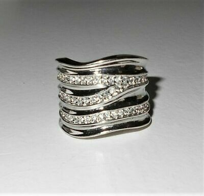 $ CDN1.70 • Buy Lia Sophia Silver Ring Revved Up! Wide Sleek Band Triple Row Crystals Size 9 EXC