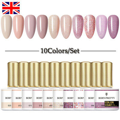 BORN PRETTY 10 Bottles Set Gel Polish Glitter Gel Varnish Nail Art Soak Off 10ml • 7.99£