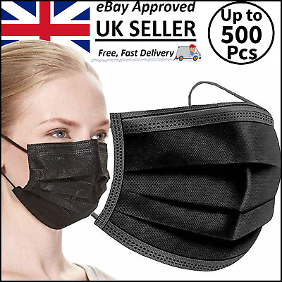 Black Face Masks Disposable Aarton 3 Ply Mask Medical Surgical (3 Ply Not 2 Ply) • 4.99£