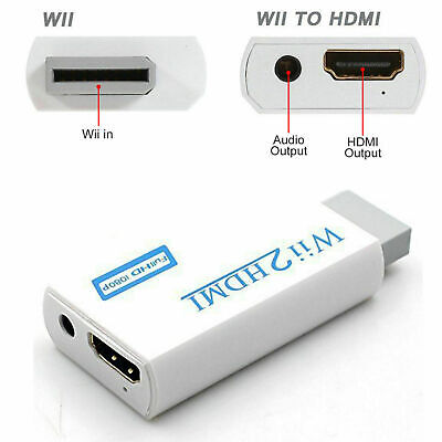 Wii Input To HDMI 1080P HD Audio Output Converter Adapter Cable 3.5mm Jack Lead • 3.75£