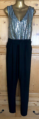 Ladies Size 20 Black & Silver Evening Jumpsuit Dorothy Perkins New  • 7£