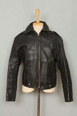 STUNNING Vtg 1940s Heavy HORSEHIDE CHP Police Motorcycle Leather Jacket Medium • 0.99£