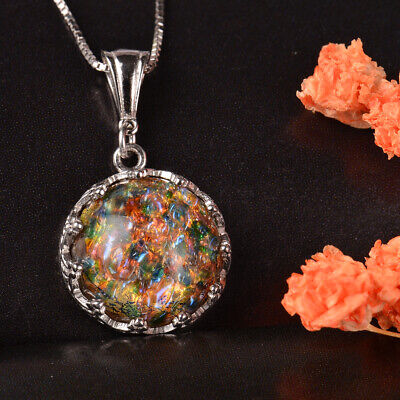 £24.99 • Buy Handmade 925 Sterling Silver Golden Age Mexican Fire Opal Style Necklace