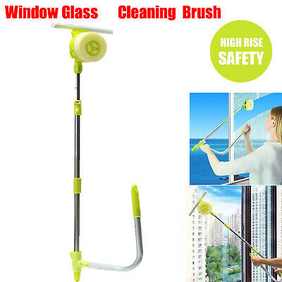 U-type Telescopic High Rise Window Cleaner Glass Dust Cleaning Brush Squeegee • 16.99£