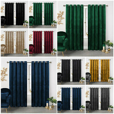 Heavy Thick Crushed Velvet Curtains Pair Eyelet Ring Top Fully Lined Ready Made • 43.99£