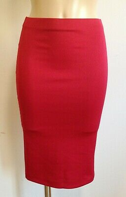 £6 • Buy Red Stretchy Knee Length Smart Pencil Wiggle Causal Skirt  Size 10 - 20