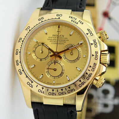 $ CDN27489.28 • Buy Rolex Daytona Gold Champagne Dial Black Leather Strap 116518 Rehaut WATCH CHEST