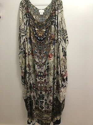 AU200 • Buy Camilla Franks Long Round Neck Kaftan Silk One Size