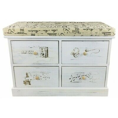 Shoe Storage Bench Seat French Style Cushioned 4 Drawers Utility Hallway Cabinet • 84.99£